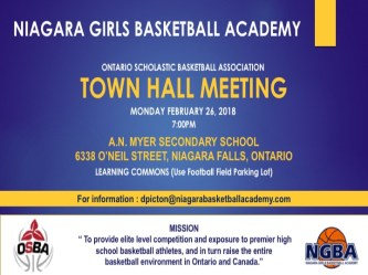 Town Hall Meeting Flyer Niagara Girls Basketball Academy