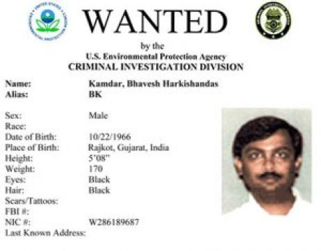 The EPA Environmental Crimes most-wanted poster for Bhavesh Kamdar who was never charged with any environmental crimes.