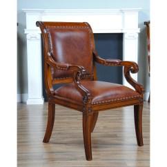 Full Grain Leather Chair Dye Upholstered Regency Arm Niagara Furniture