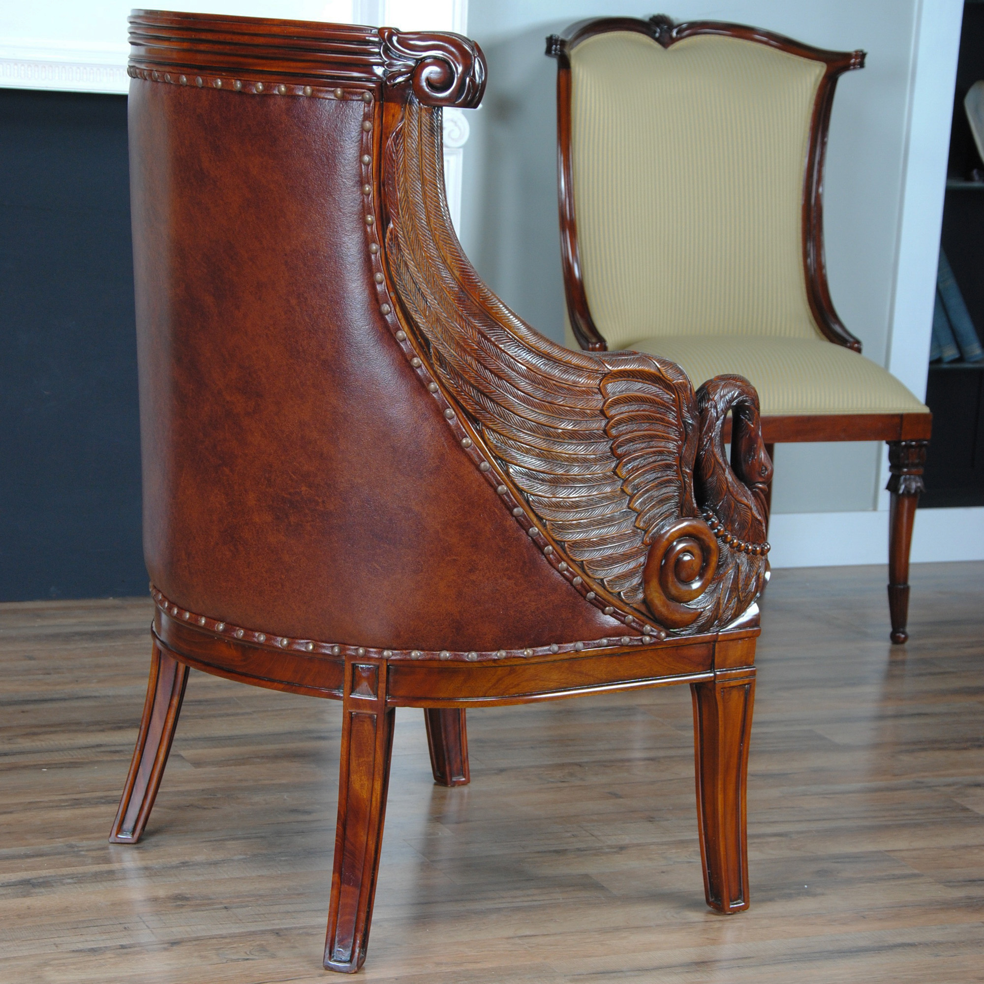 Swan Chair Leather Swan Arm Chair, Niagara Furniture, Genuine Leather
