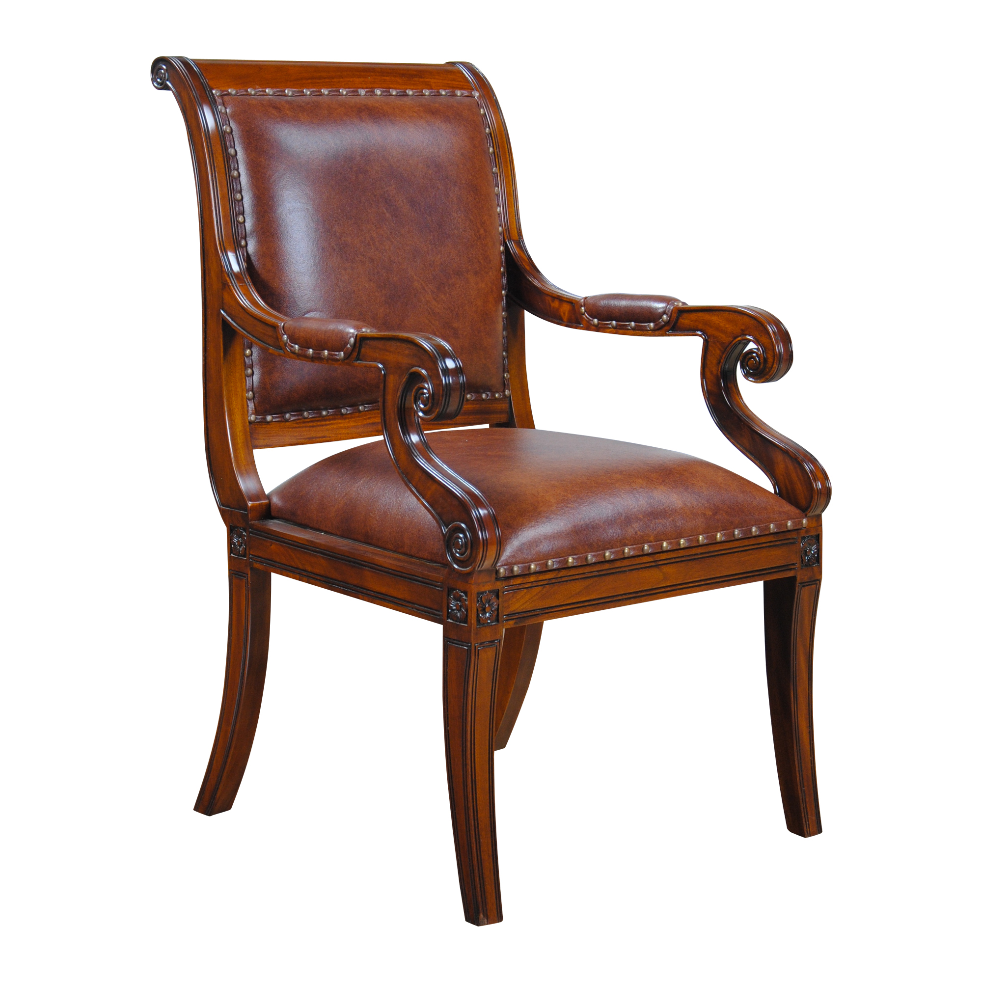 leather dining room chairs replacement chair casters regency arm niagara furniture full grain