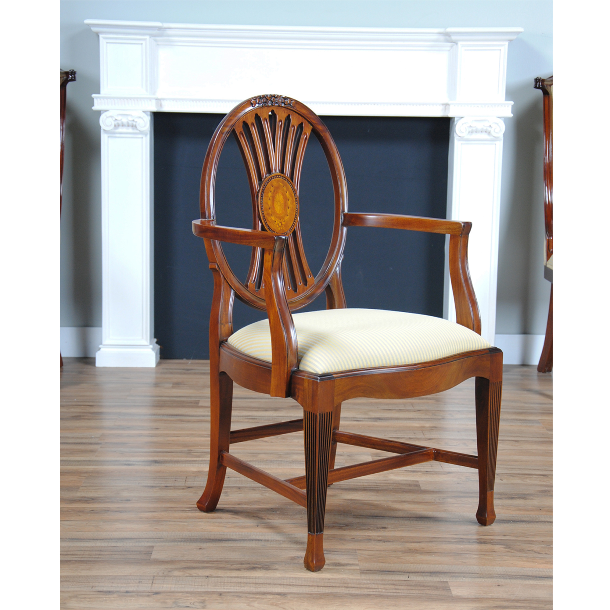 Round Back Dining Room Chairs Round Back Inlaid Arm Chair Niagara Furniture Mahogany