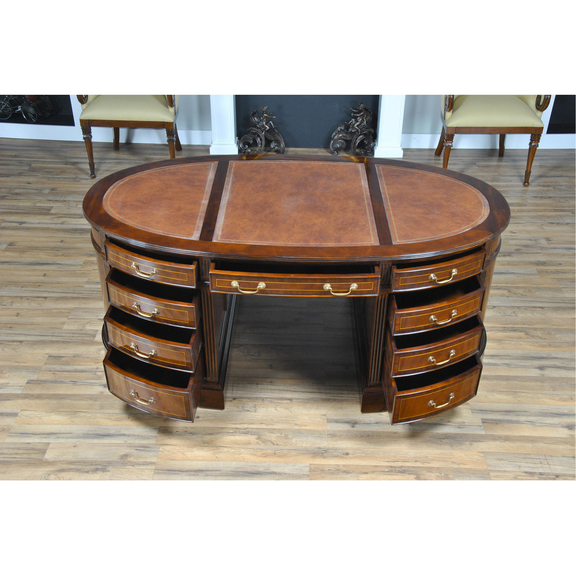 Oval Partners Desk Niagara Furniture leather top partner