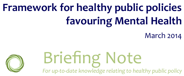 framework for healthy public policies favouring mental health