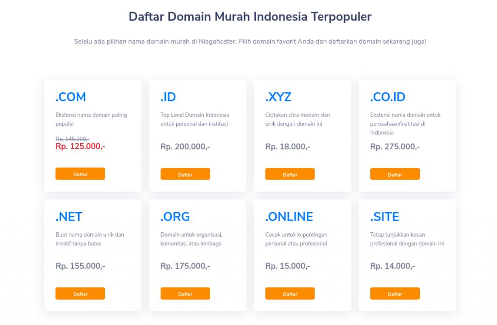 Pilihan domain lengkap di Niagahoster
