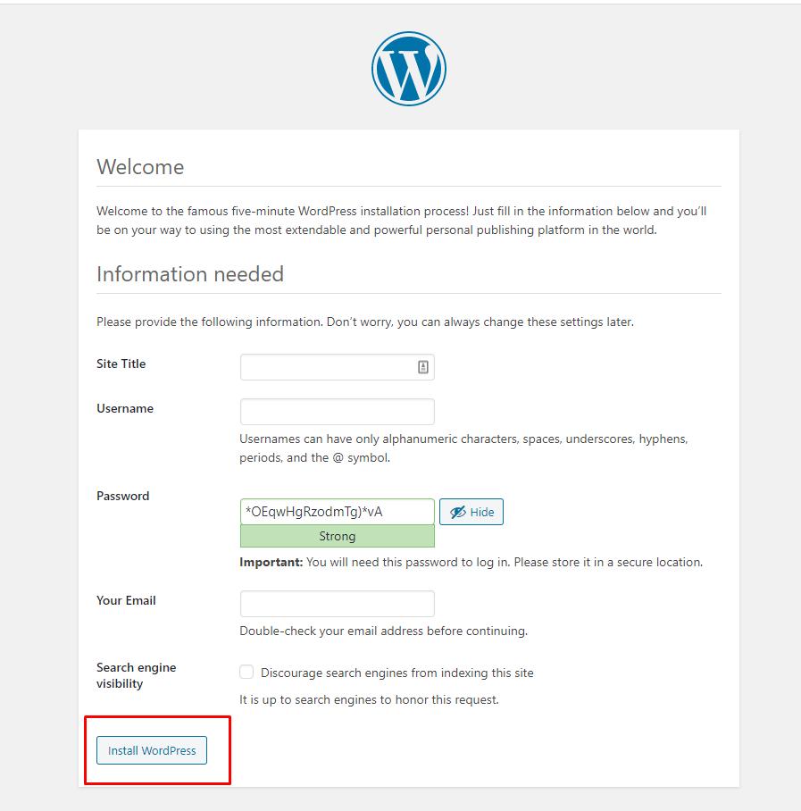 Proses instalasi WordPress di local host