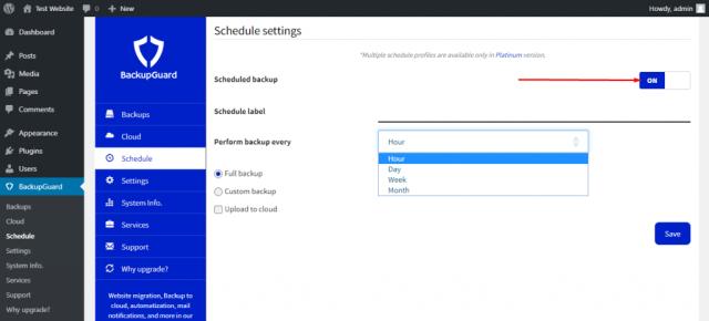 Schedule BackupGuard plugin backups