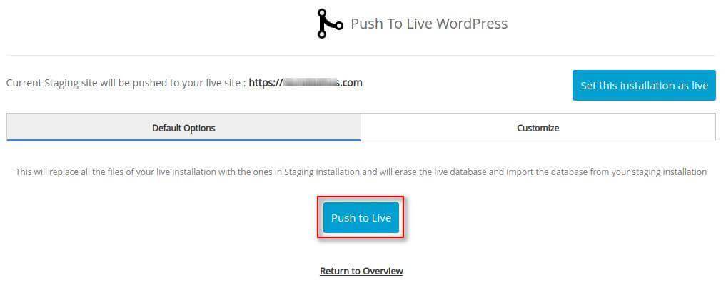 Konfirmasi push to live