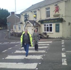 Nia Griffith with Cllr. Steve Lloyd-Janes at the Zebra Crossing on Fforest Road, Hendy