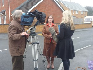 Nia raising awareness of flooding problems in Kidwelly