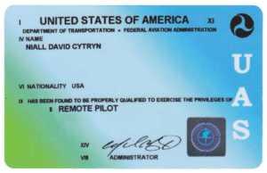 FAA Part 107 Remote Pilot License Front