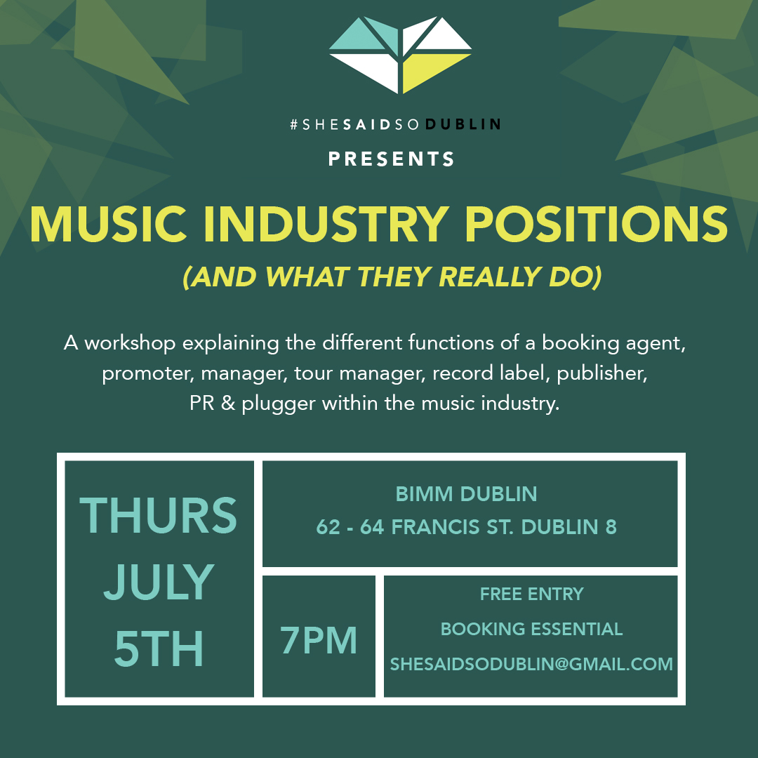 , She Said So Dublin to explore music industry positions in second workshop