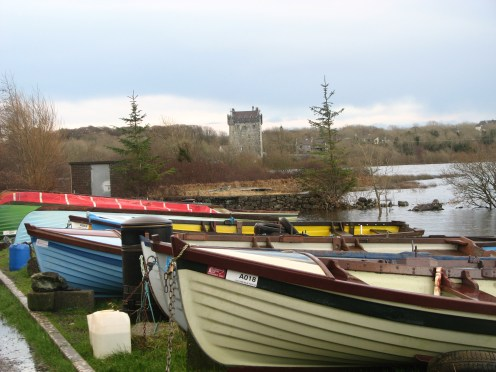 """""""Lovely Annaghdown"""" Annaghdown Castle erected on the east shore of Lough Corrib, County Galway, Ireland by the O'Flahertys in the late 14th century."""