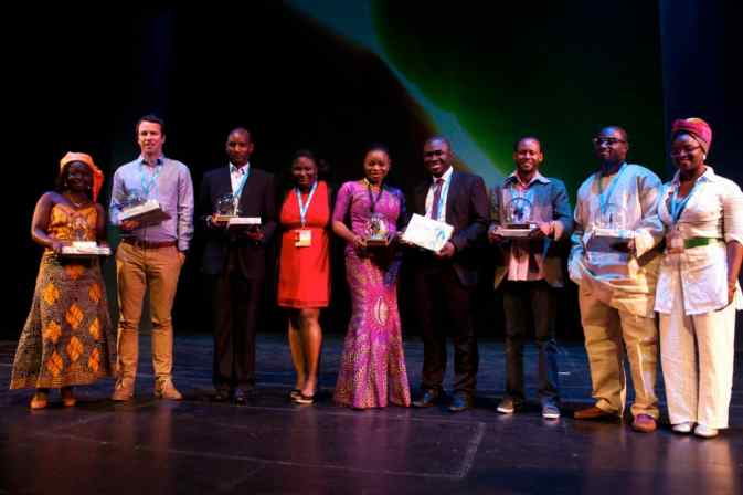 Niall McNulty with other award-winners at the 2012 Highway Africa New Media Awards