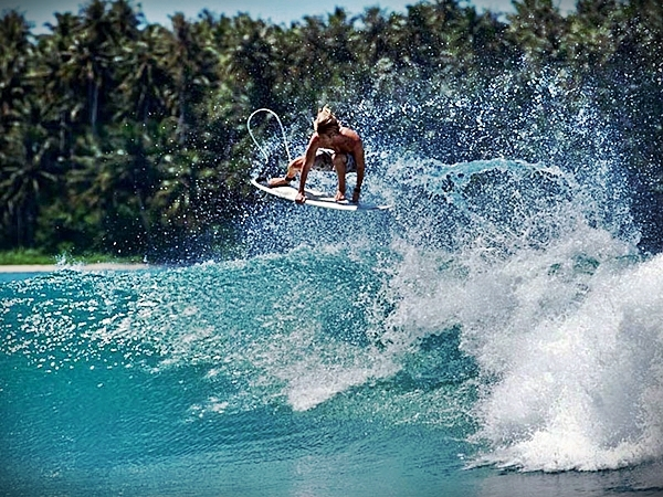 Surfing in Nias Island, Indonesia