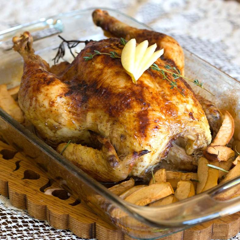 Apple rosemary roast chicken