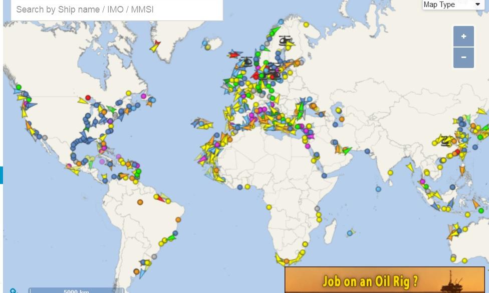 schepen wereldwijd