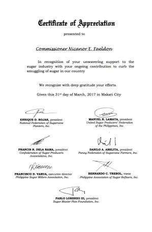 Certificate of Appreciation to Comm. Faeldon 2