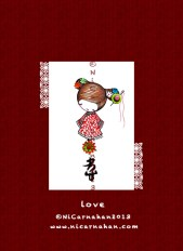 ©NiCarnahan2013. All Rights Reserved. Ni Carnahan's Asian Button Girl 04 Love 2013