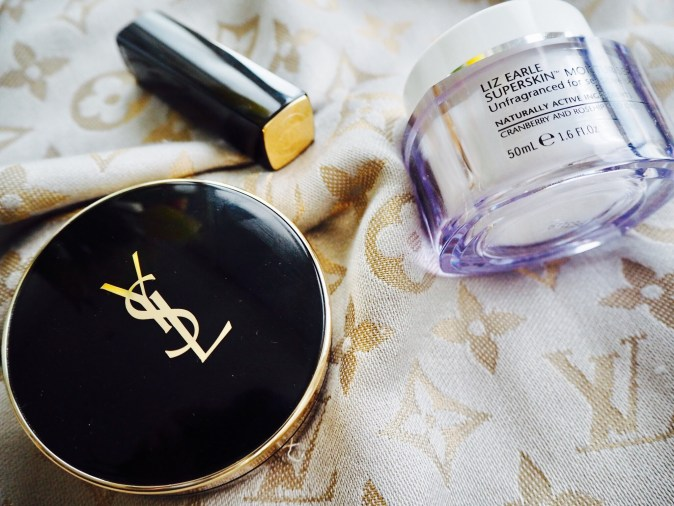 Liz Earle Superskin Moisturising Cream with YSL foundation and Chanel lipstick