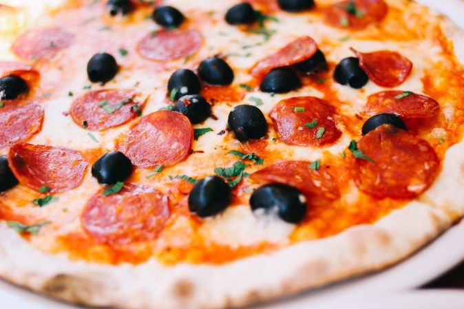 Pepperoni and olive pizza
