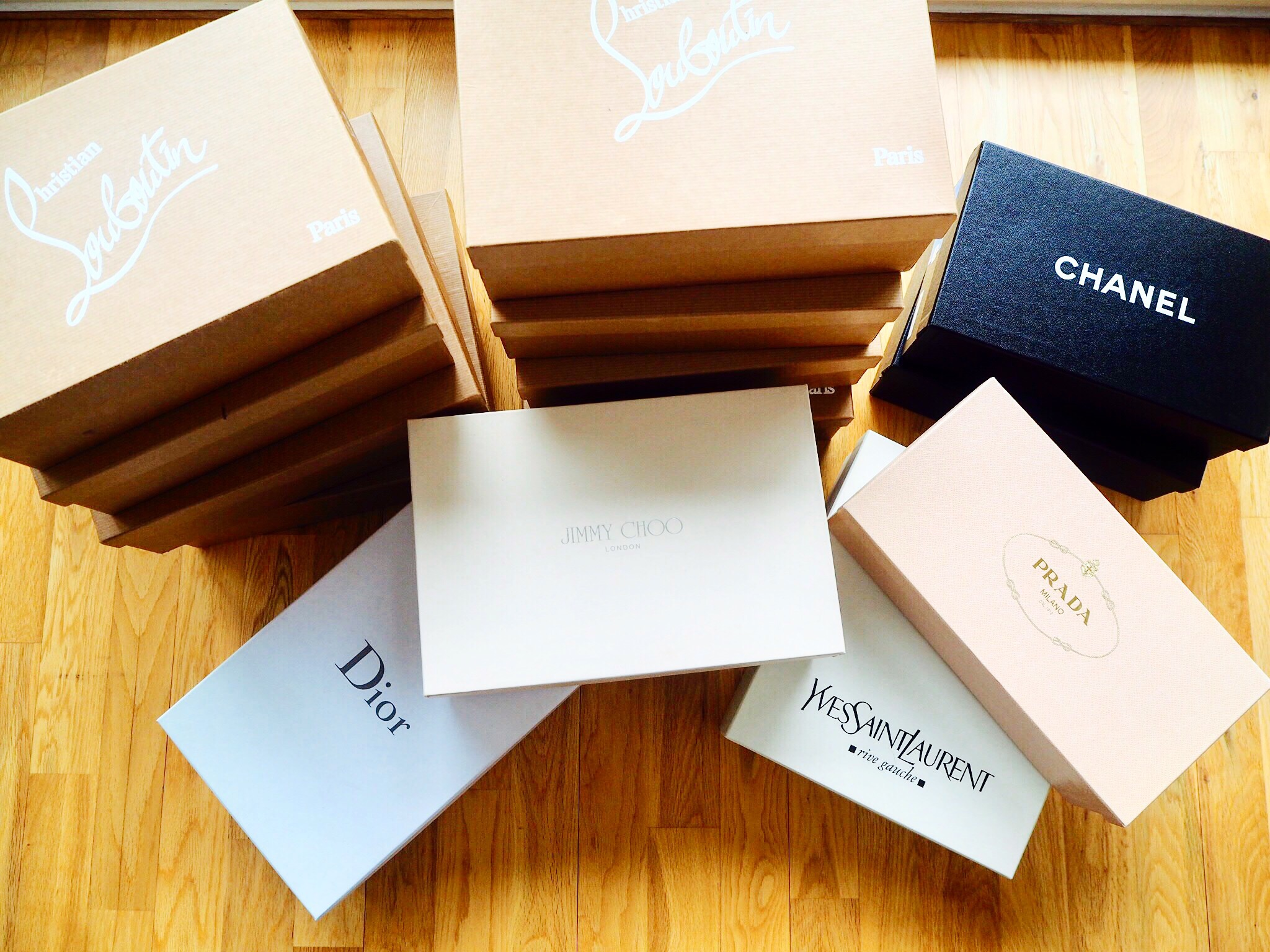 Designer shoe collection, Christian Louboutin, Chanel, Jimmy Choo, Prada, Dior, YSL