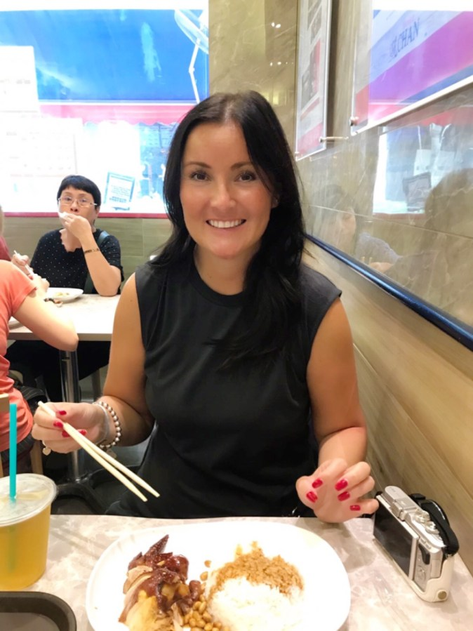Picture of Nicci McShane in Mr Chans noodle house in Singapore