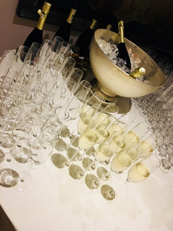 Table of champagne and glasses