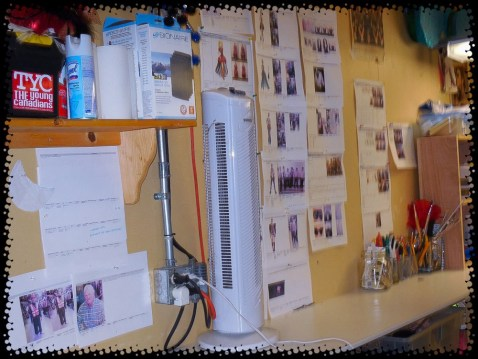 Computer generated plans and patterns for future costumes on the wall.