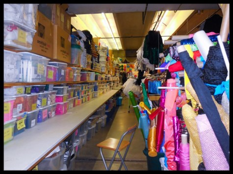 ... and yet MORE BINS of supplies against the wall running the length of the room...