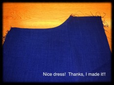 Pocket lining turned to the inside and ironed.