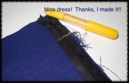 I marked the waistband seam on my invisible zipper to ensure that the other side would meet up properly at the seam.