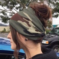 Lányos Wide Boho Headband / Messy Bun Beanie / Slouchy Hat