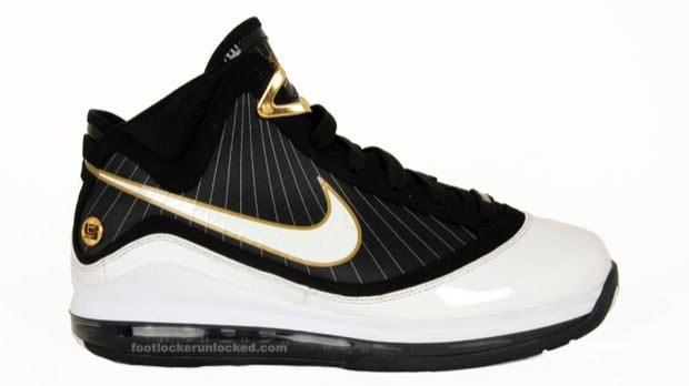 reputable site fad20 dee5d Nike Air Max LeBron VII White Black-Metallic Gold