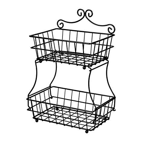 Linkfu 2 Tier Fruit/Bread Basket Removable Screwless Metal