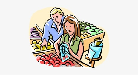 Store Clipart Grocery Shopper Couple Grocery Shopping Cartoon Transparent PNG 480x363 Free Download on NicePNG
