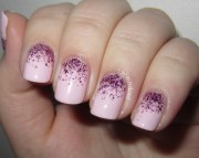 girly glitter nail design woman