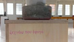 "apostolos ntelakos ""xexnao pou efyga / I forget that I left"" dimensions: 75X25X35 cement, wood, melamine, water color, pencil, house paint, terazzo, 2016"