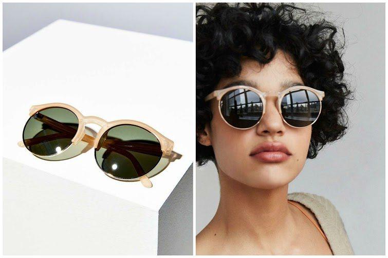 Keyhole Round Half-Frame Sunglasses