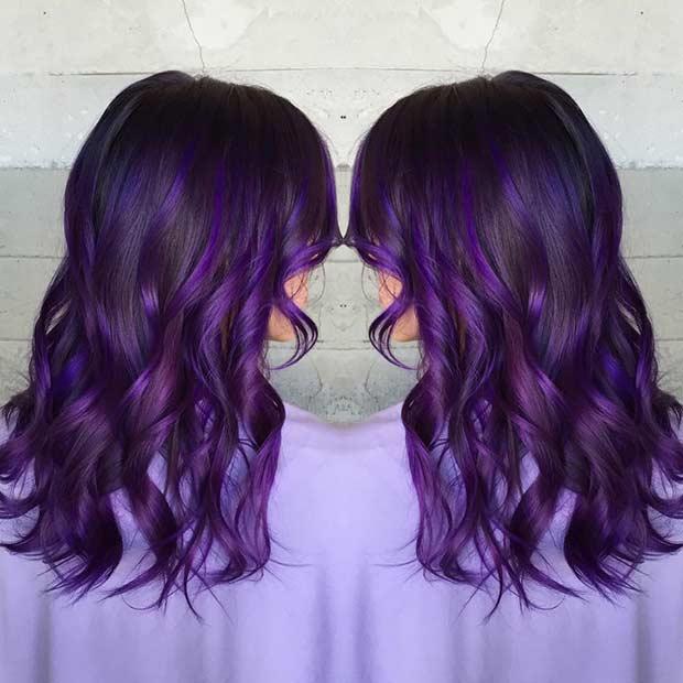 Brunette & Dark Purple