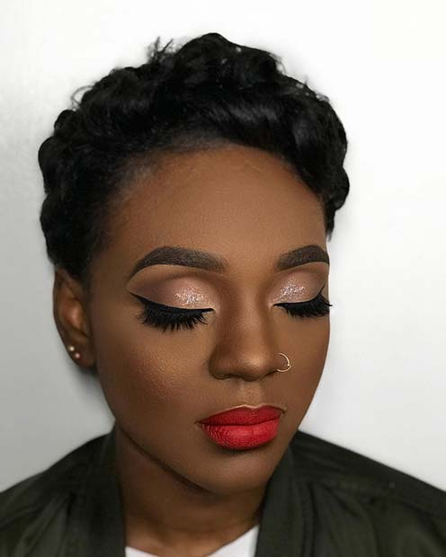 Classic Eyeliner and Red Lips