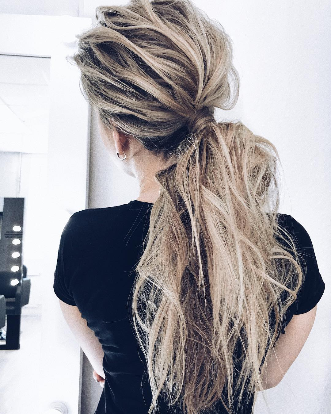 Messy Teased Ponytail Hairstyles for Long Hair