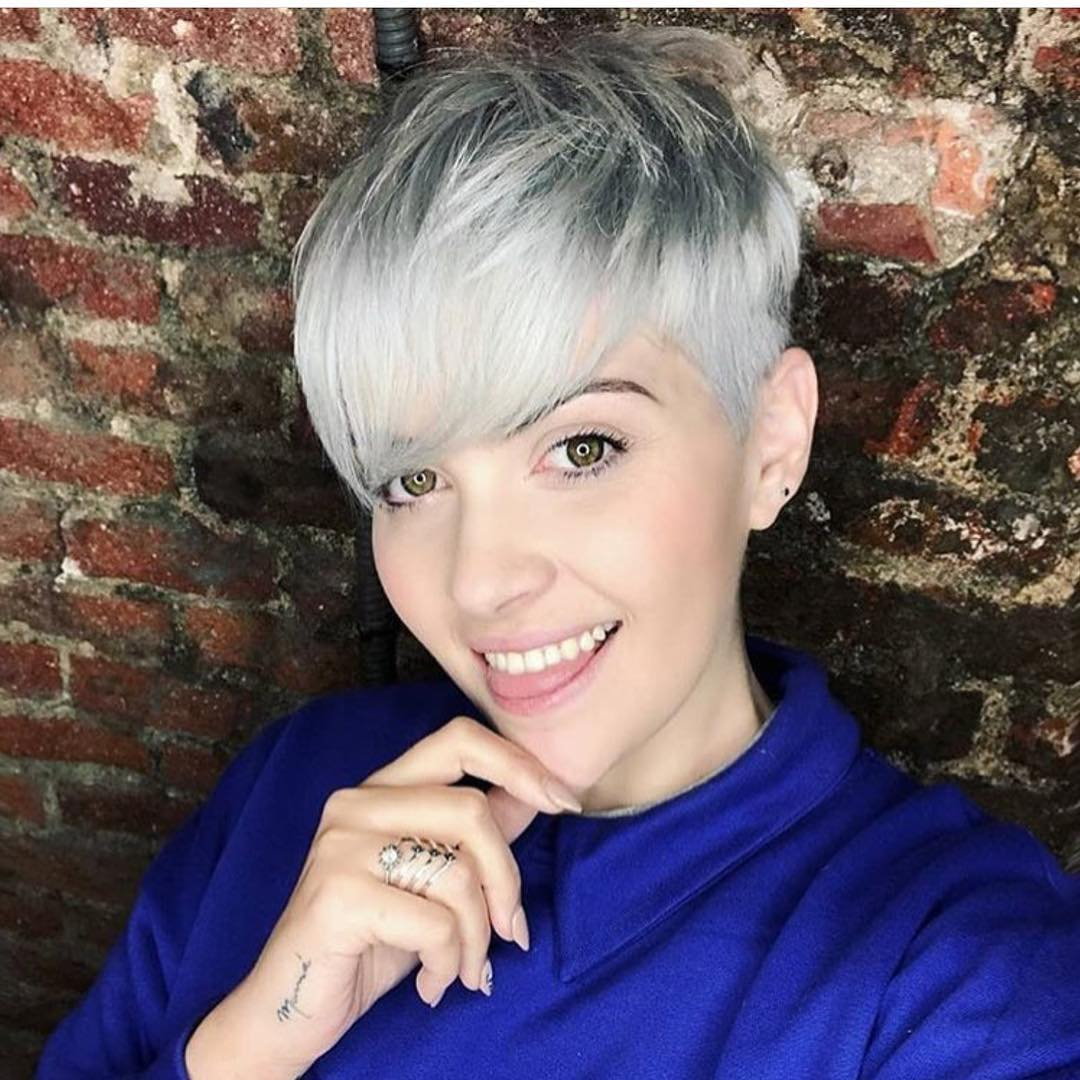 White Blonde Forward-Swept Pixie with Bangs