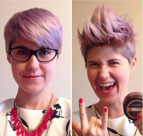 short lavender hairstyle