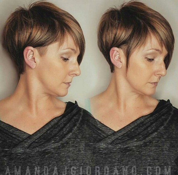 Piecey Highlighted Pixie: Balayage, Shaved Short Hairstyle