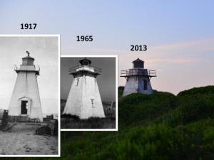 Once a jumping off point for swimmers, this lighthouse is now 600m from the channel at St Peters Harbour PEI due to coastal accretion. Historical photos courtesy of Carol Livingstone, PEI Lighthouse Society.