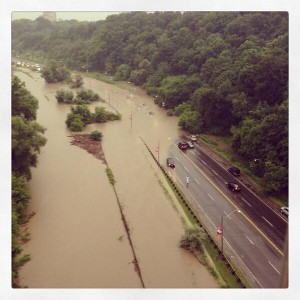 Flooded Don Valley Parkway from Bloor Street Viaduct. Photo by Vicki Laszlo