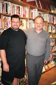 Erik Piikkila (L) and Richard Mackie (R) at the well-received Courtenay book launch of Mountain Timber.