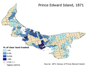 Mussel mud distribution as a proportion of cleared land within 2 miles of the coast, PEI, 1871,
