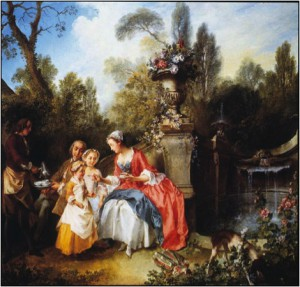 Nicolas Lancret, The Cup of Chocolate (or, Lady and Gentleman with two girls in a garden), 1742